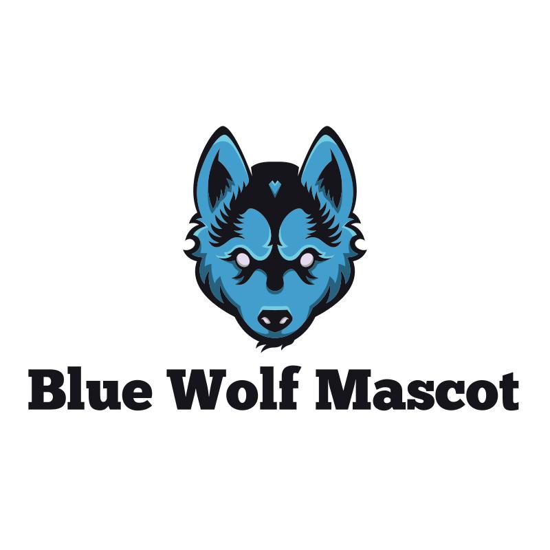 Blue Wolf Mascot Logo
