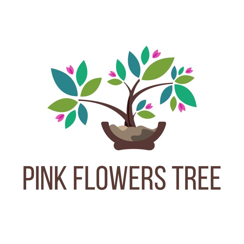 Pink Flowers Tree Logo