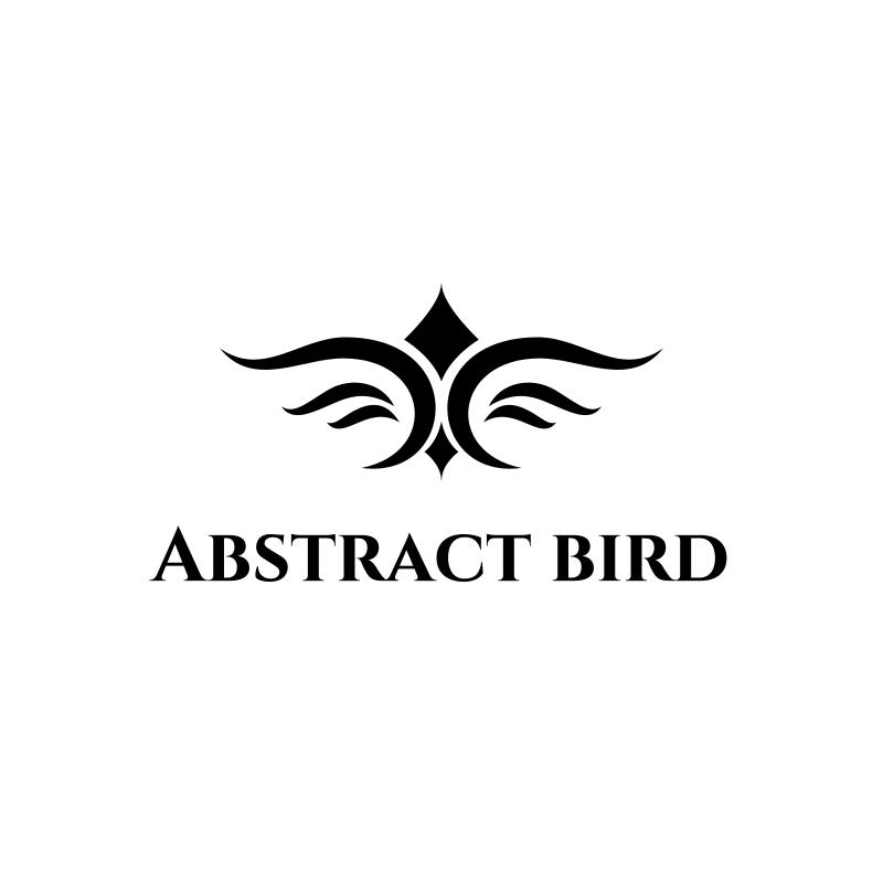 Black and White Abstract Bird Logo Design