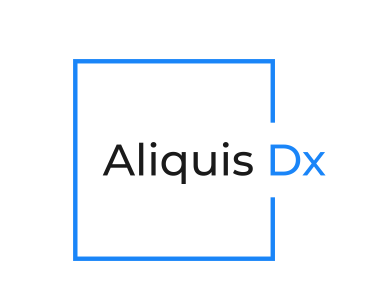 Blue Square Logo Design by J. Ivan for the Biotech Consulting Firm Aliquis Dx
