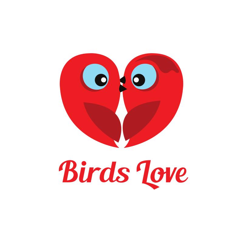 Heart Shape Birds Love Logo Design