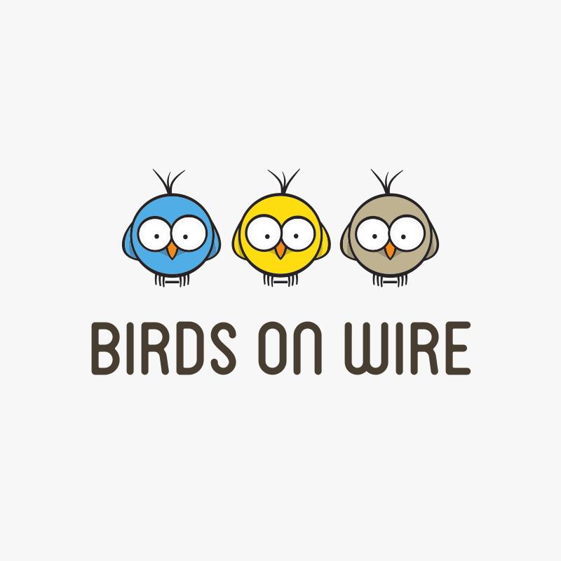 Cartoon Birds On Wire Logo Design