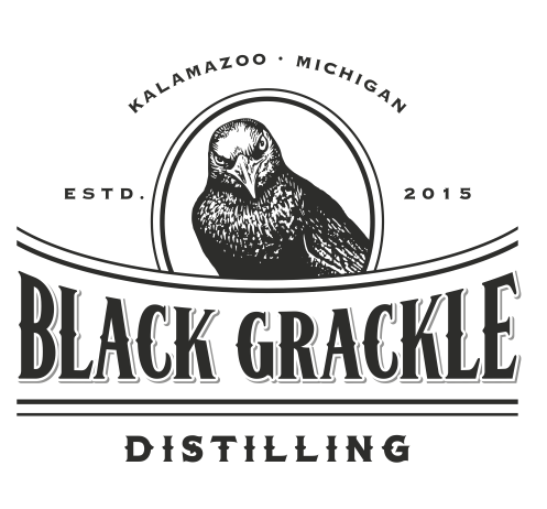 Black and White Grackle Logo Design by  Raicho for a Distilling Business