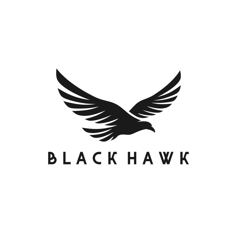 Black and White Hawk Logo Design