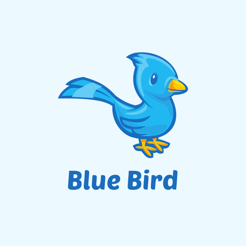 Cute Blue Bird Logo Design