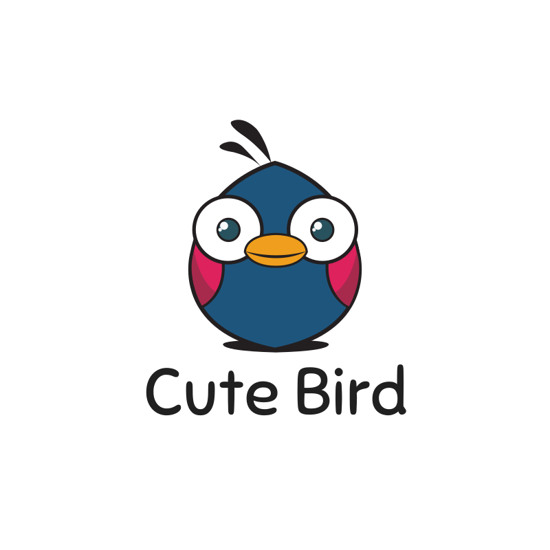 Cute Blue Eyes Bird Logo Design