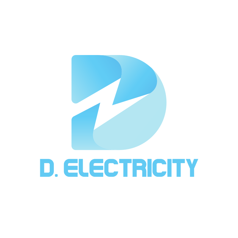 Blue D Electricity Thunder Logo Design