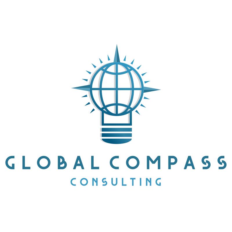 Global Compass Light Bulb Consulting Logo Design