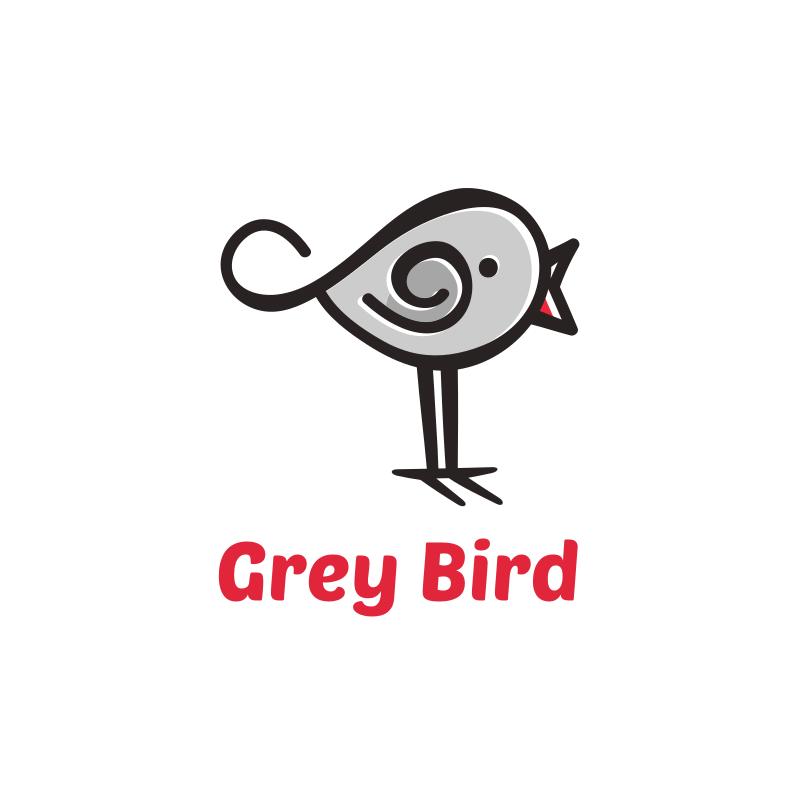 Cute Grey Bird Logo Design
