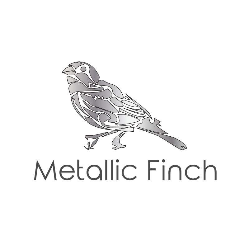 Black and White Metallic Finch Logo Design