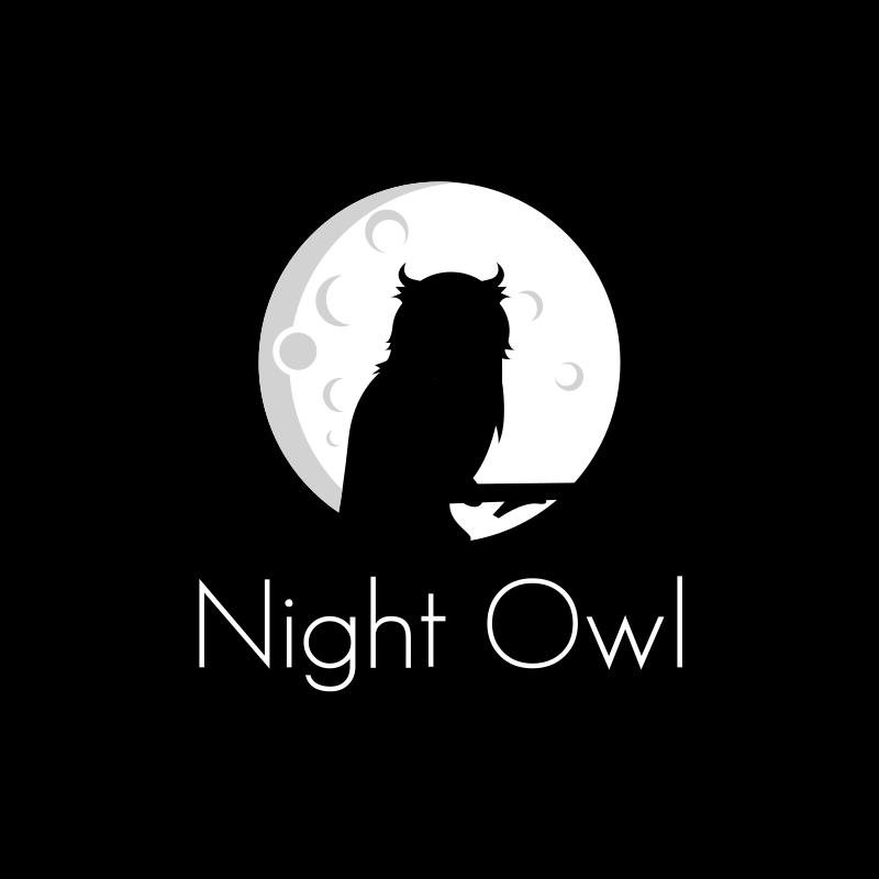 Black and White Night Owl Logo Design