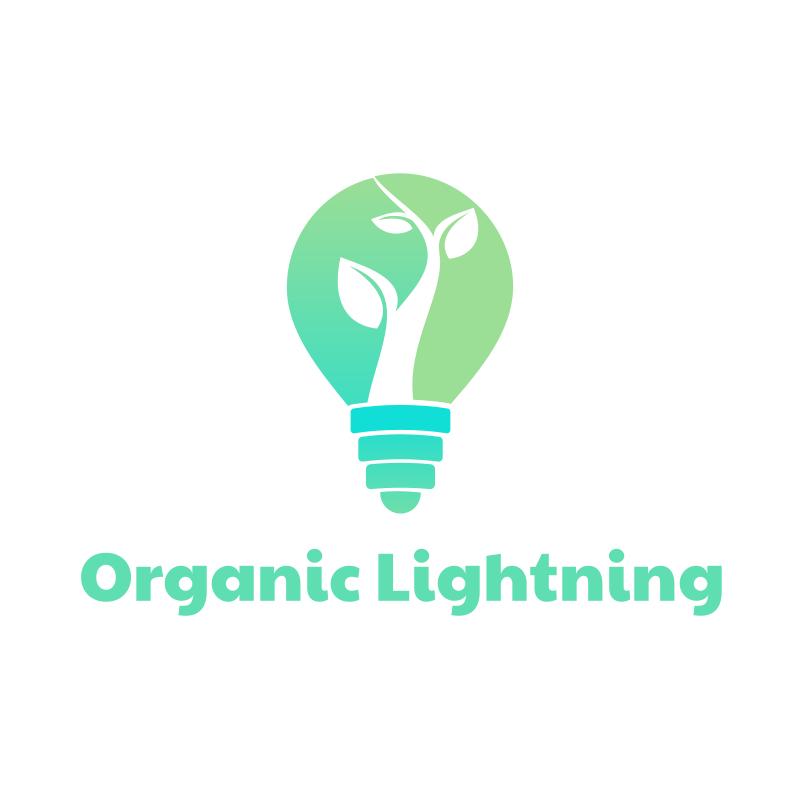 Green Lightbulb and Plant Logo Design