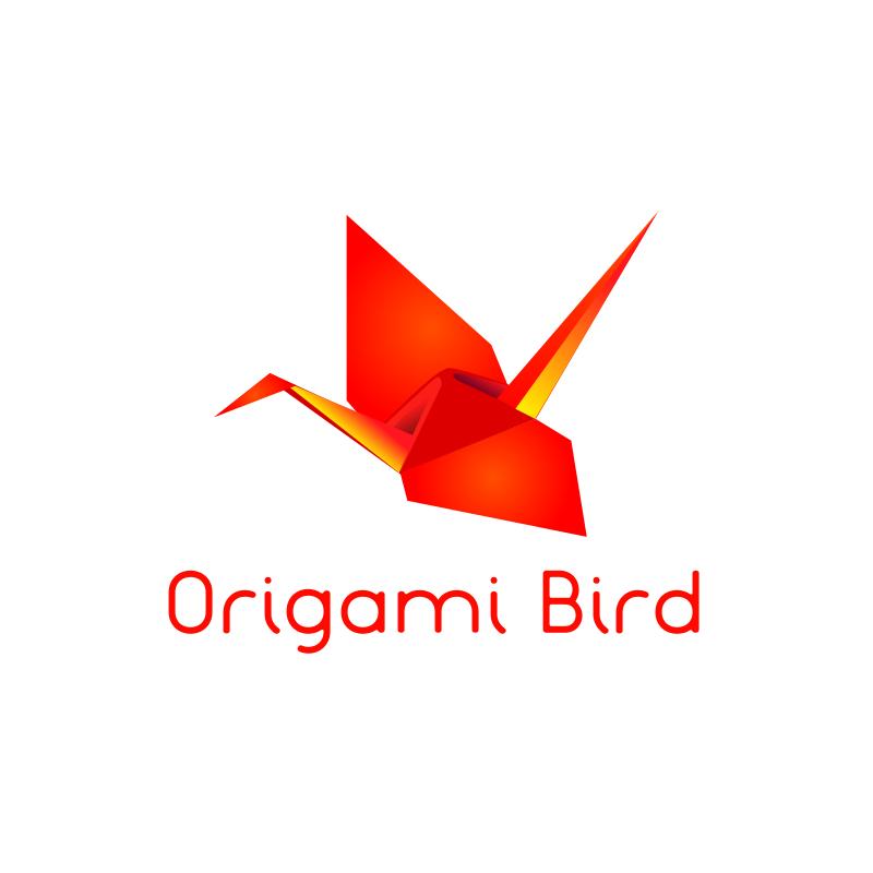 Origami Red Bird Logo Design