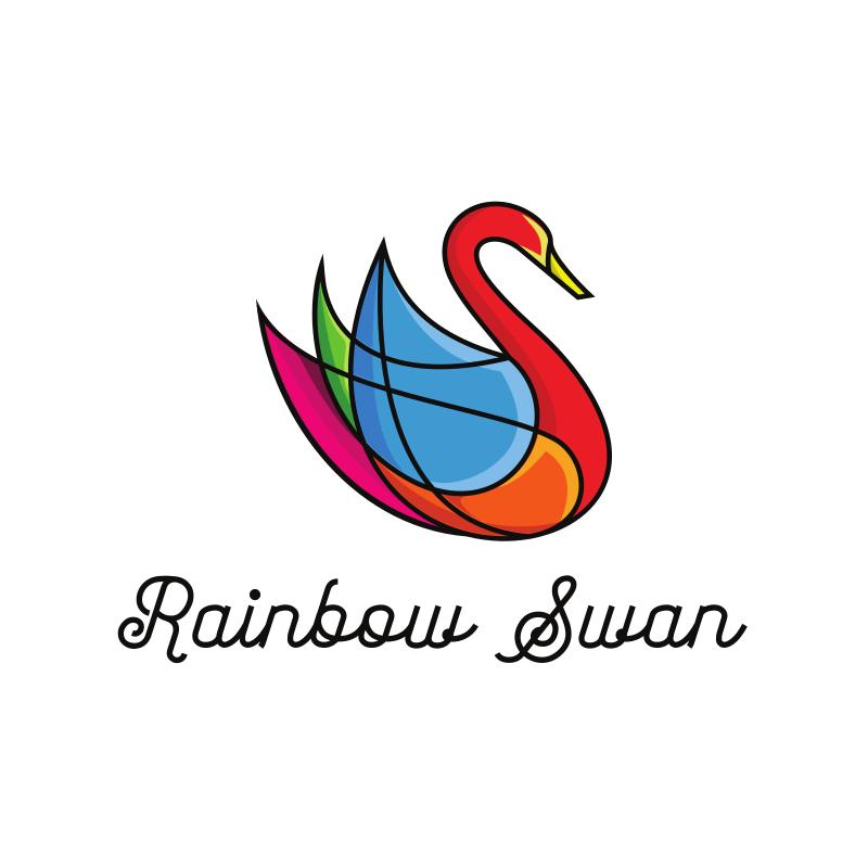 Rainbow Swan Logo Design