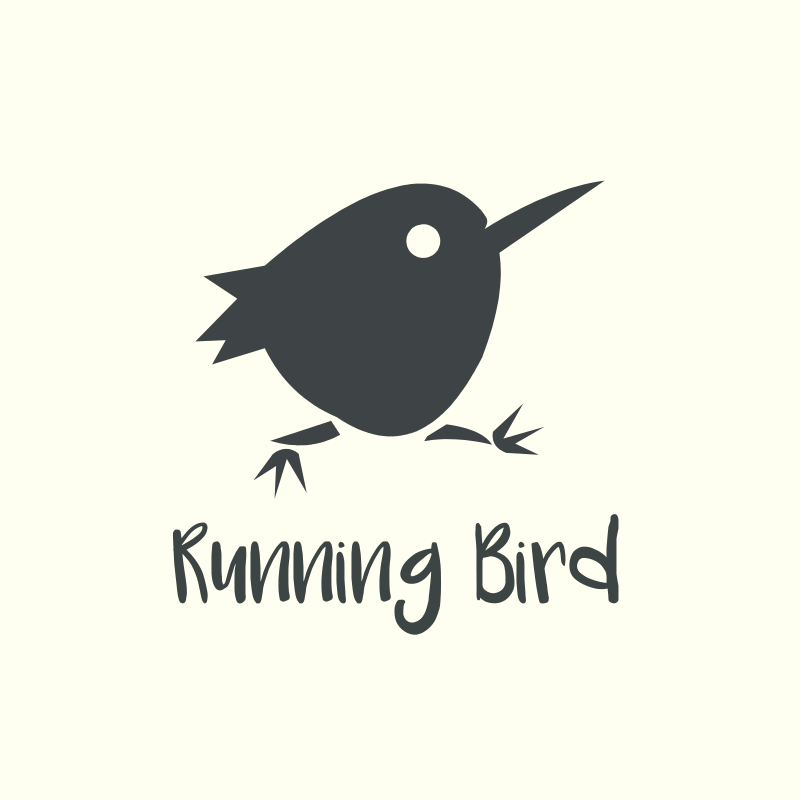 Black and White Cartoon Running Bird Logo Design