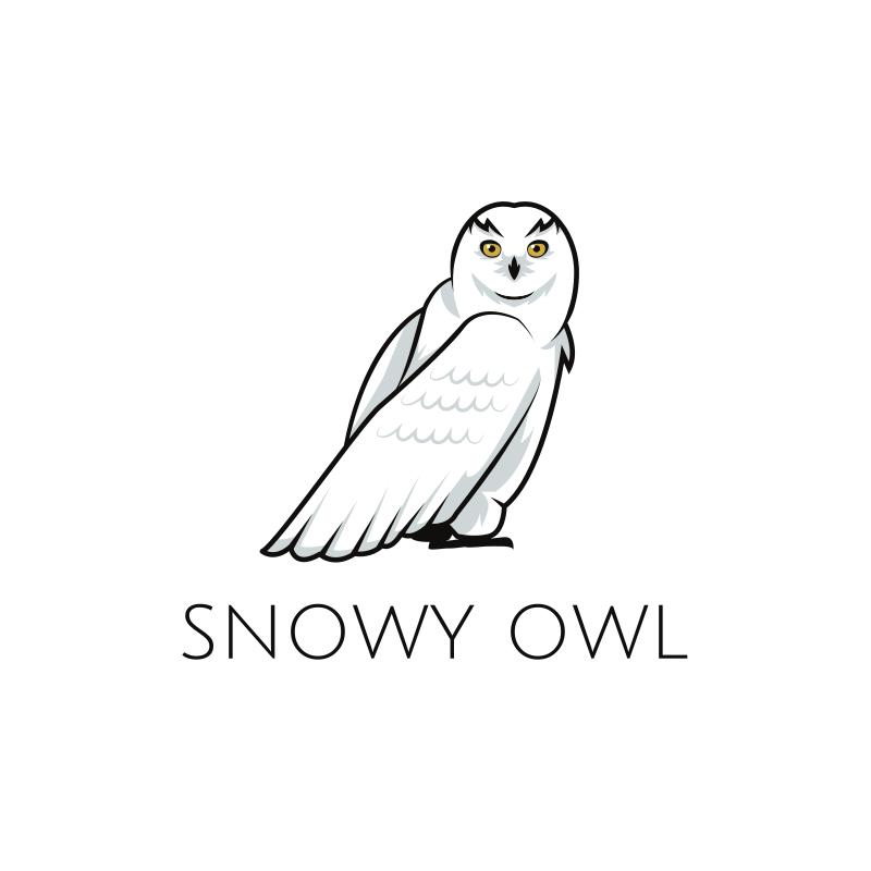 Black and White Snowy Owl Logo Design
