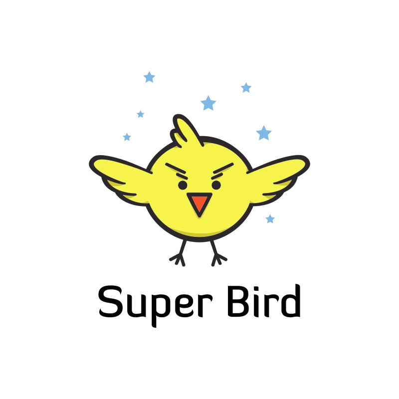 Super Bird Cartoon Logo Design