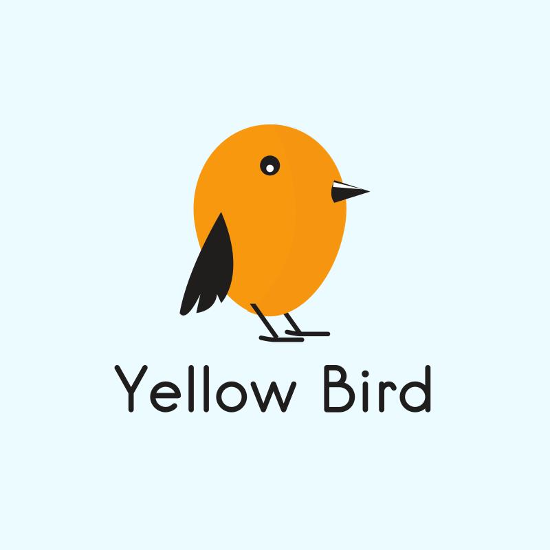Cute Yellow Bird Logo Design