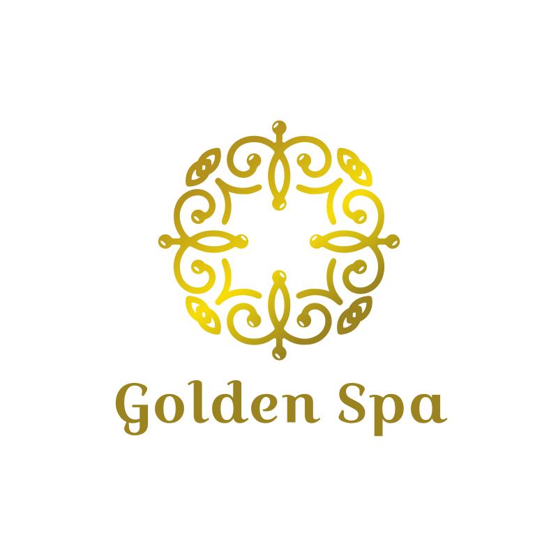 Golden Ornament Circle Spa Logo Design