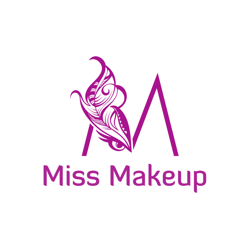 Miss Makeup Letter M and Feather Eye Logo Design