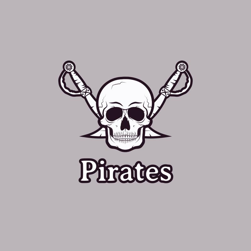 Pirate Skull and Swords Logo Design