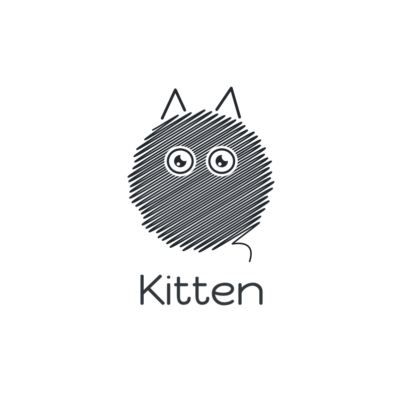 Round Sketch Cat Logo Design