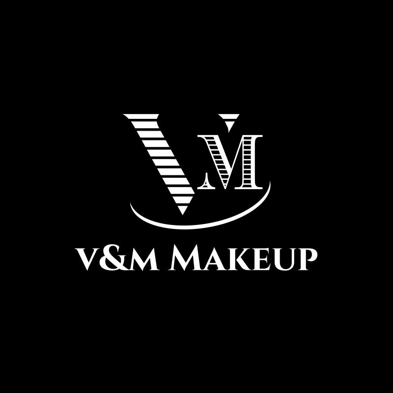 Black and White V&M Makeup Logo Design